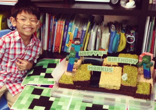 LittleMan with his Minecraft cake