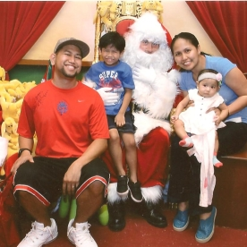 Family photo with Santa Claus at Wafi Mall