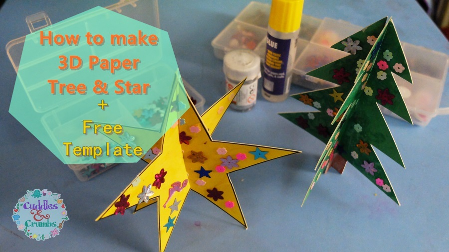 3D Paper Christmas Tree And Star + Template