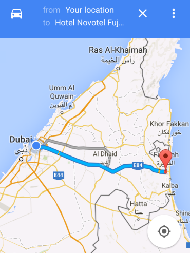 Road to Fujairah via Google Maps