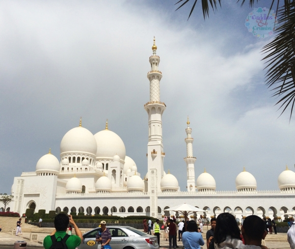 Abu Dhabi Grand Mosque view from parking lot