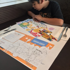 Eggspectation activity sheet and kids menu