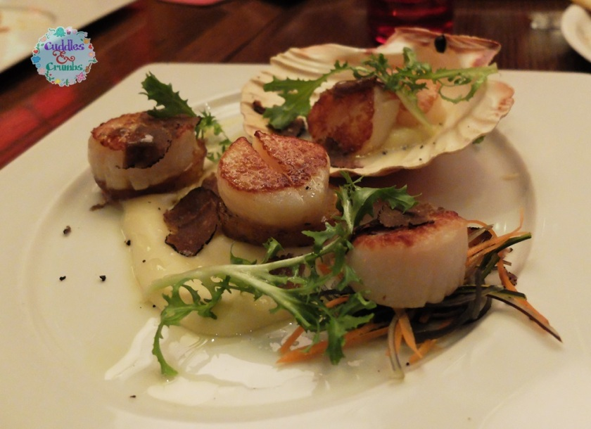 Pan-seared scallops on cauliflower purée