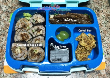 Beef tapa sushi roll inside BentGo Kids box