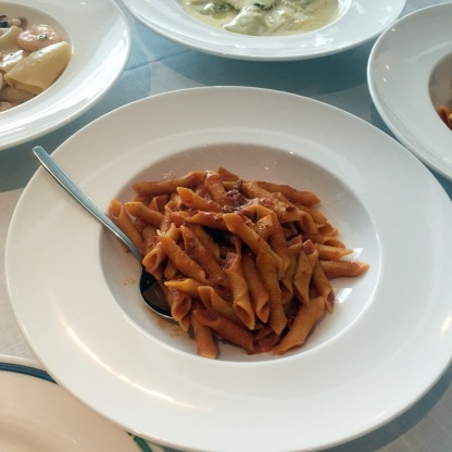 Garganelli with Bolognese sauce and mushroom