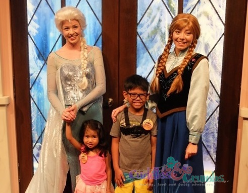 Queen Anna and Princess Elsa of Frozen Disneyland meet