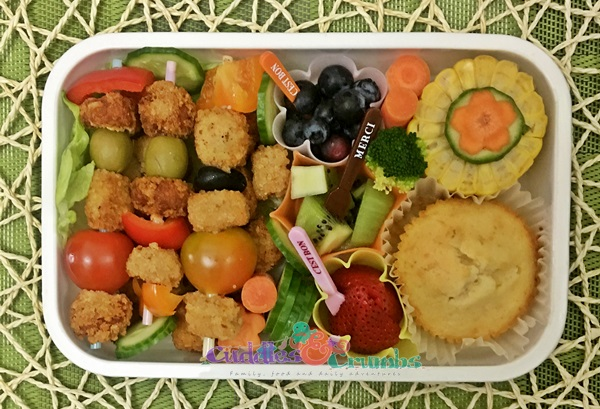 Chicken Popcorn Kebab Bento Box