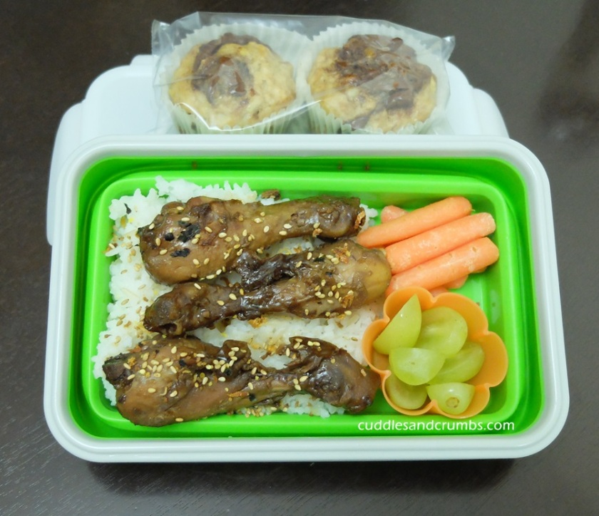 Slow cooked teriyaki chicken drumstick lunchbox