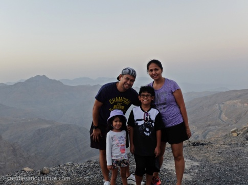 family photo at Jebel Jais Mountain