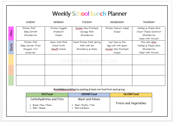 school lunch planner
