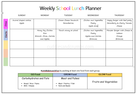 weekly school lunch menu planner