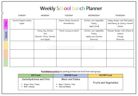 weekly school lunch menu planner