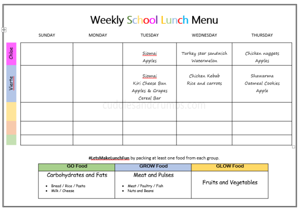 weekly lunchbox menu