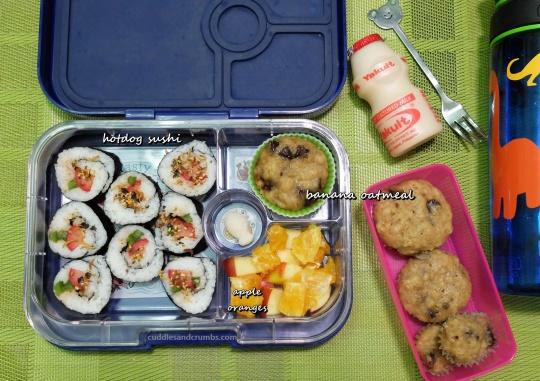 hotdog sushi rolls bento lunchbox