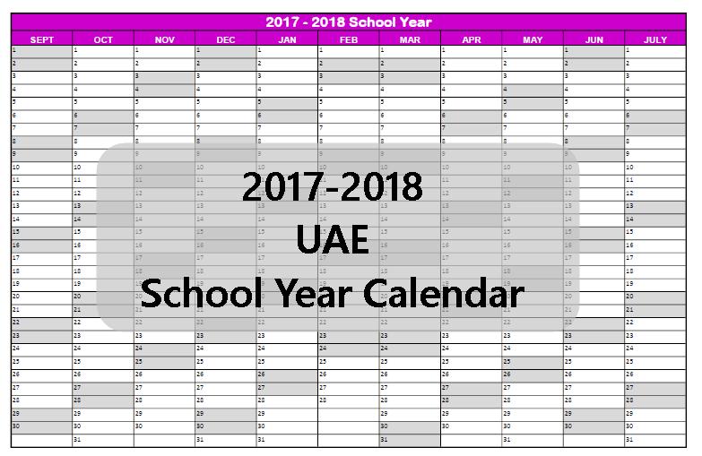 Free UAE School Calendar