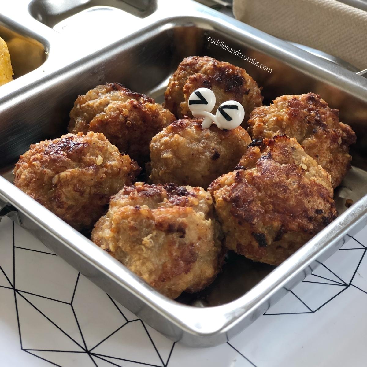 Baked Chicken Quinoa Meatballs