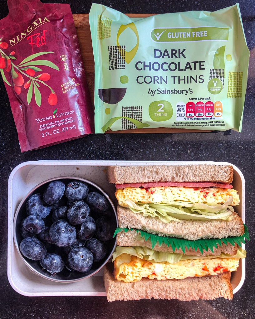 Sheet Pan Egg Sandwich with blueberries, Sainsbury Chocolate Thins and NingXia Red